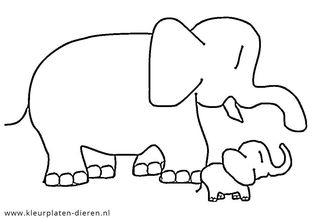 kleurplaat olifant met jong kleurplaten