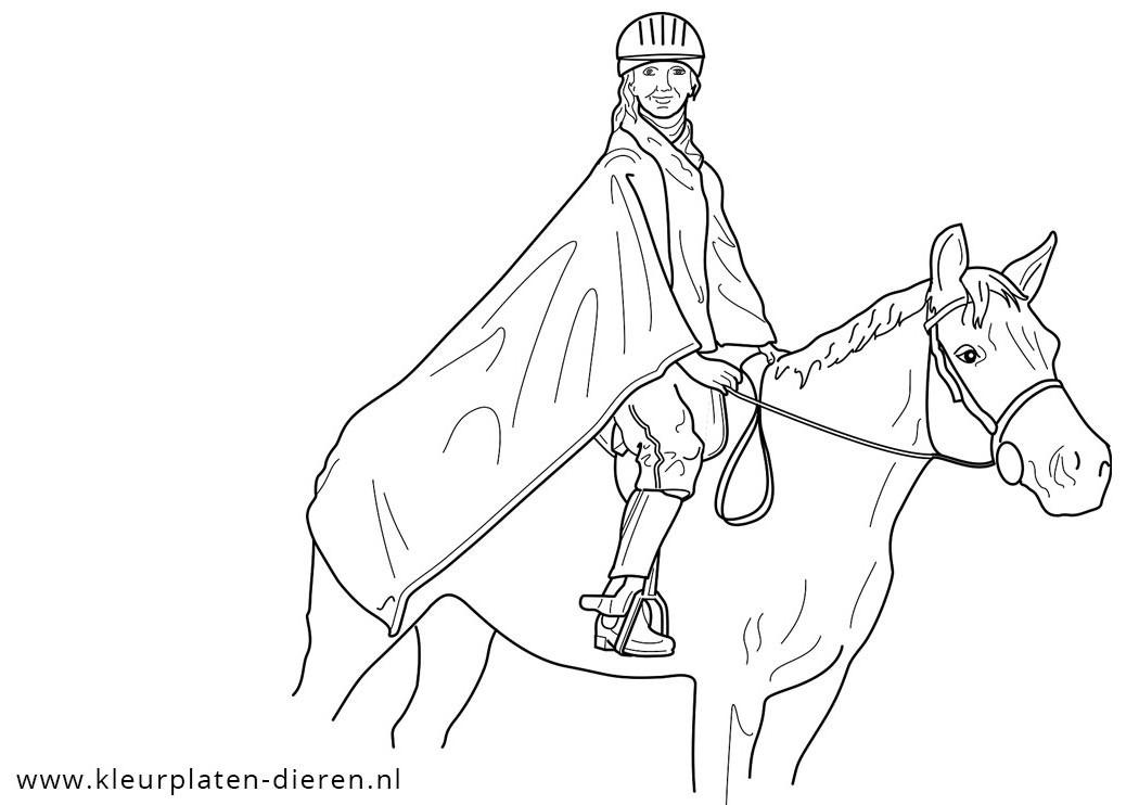 kleurplaat paard met ruiter kleurplaten